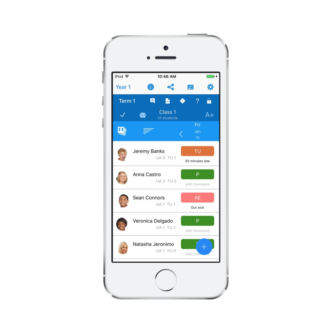 android and ios app for teachers includes attendance gradebook