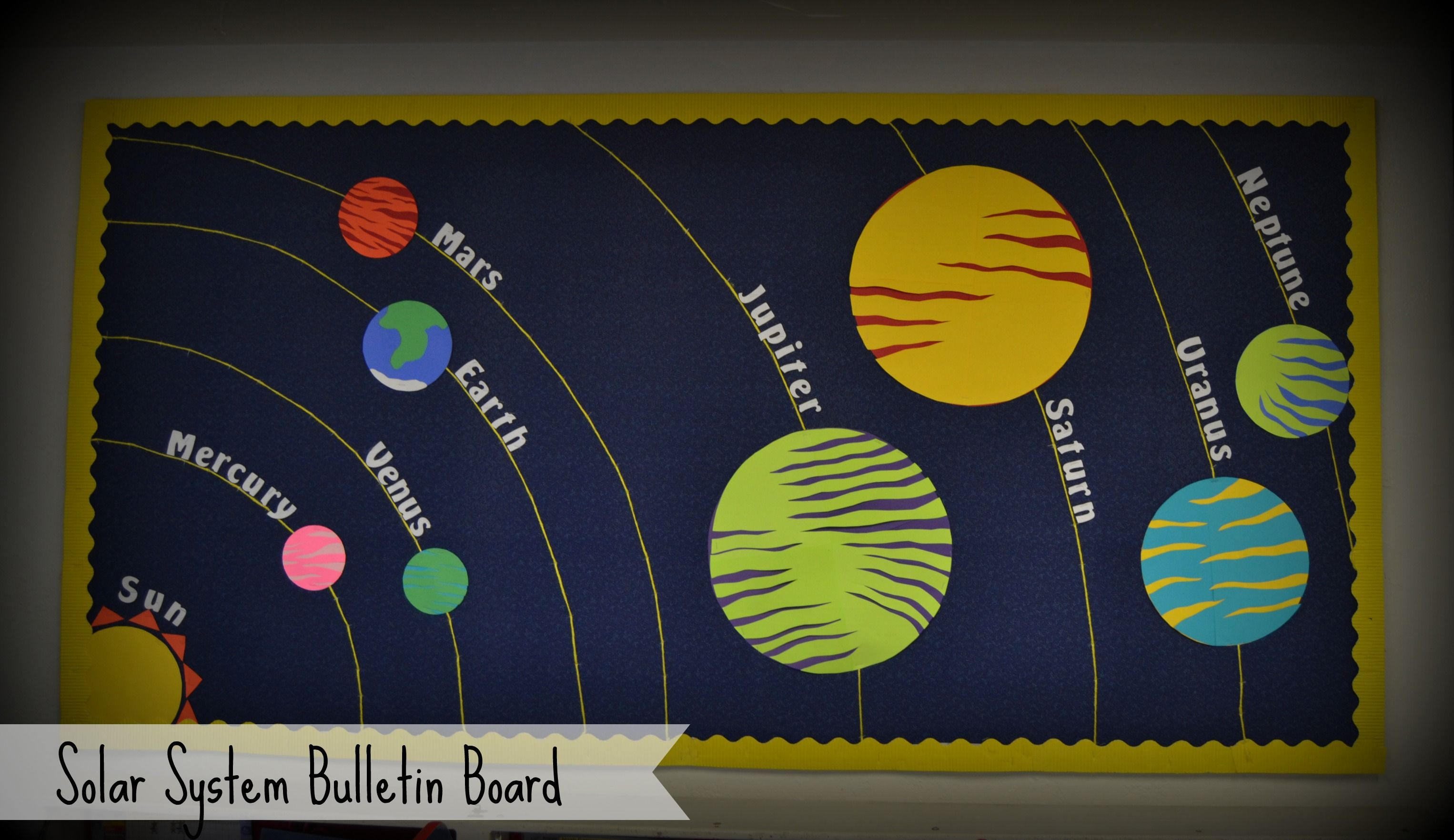 solar system bulletin board i made the planets out of construction paper and used yellow yarn to outline their orbits  [ 3052 x 1763 Pixel ]