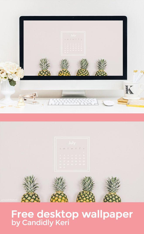Macbook Wallpaper Calendar : Pineapple fun geo shape summer july calendar