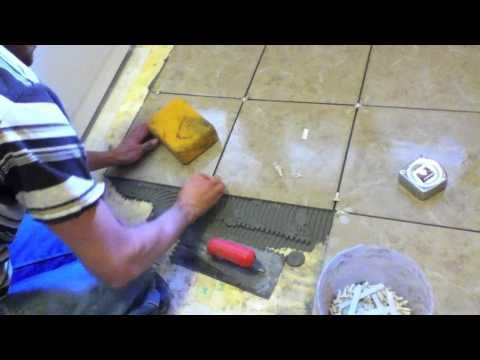How To Lay Large Format Tiles Without Using A Self Levelling Compound Youtube Floor Tile Grout Flooring Tiles