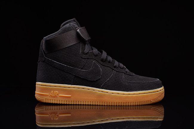 Nike Air Force 1 High Black Suede Gum