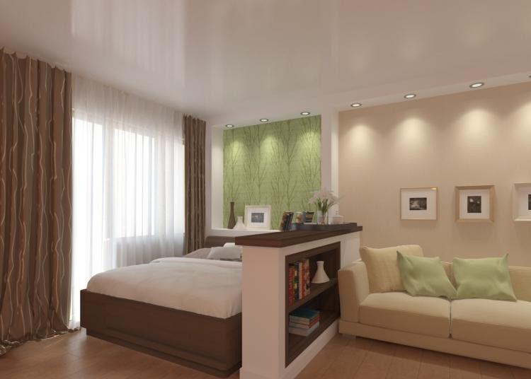 Дизайн однокомнатной квартиры 20 кв м фото разделить на две зоны
