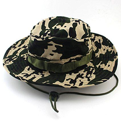 fb4d8bd529adf Amazon.com   MAIYU Boonie Hat Military Waterproof Cap Woodland Camo Fishing Bucket  Hat With String Snap Brim Hat Alternative Color   Sports   Outdoors