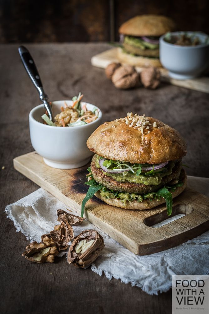 california fusion walnut burger bok choy slaw with brioche burger buns vegetarian recipe. Black Bedroom Furniture Sets. Home Design Ideas
