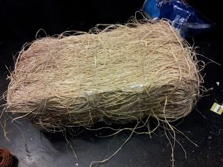 Make A Hay Bale Out Of Foam And Raffia Halloween Craftsprops Diy