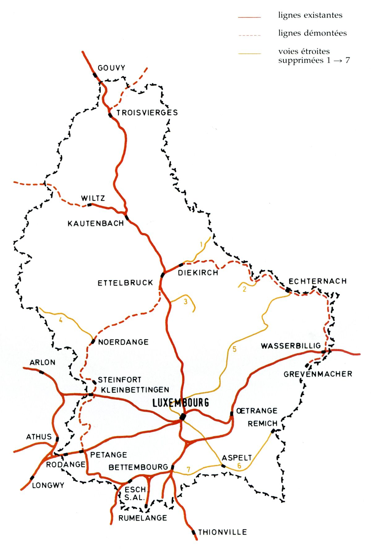 Luxembourg railway map | Luxembourg Railways (CFL) | Eisenbahn ...