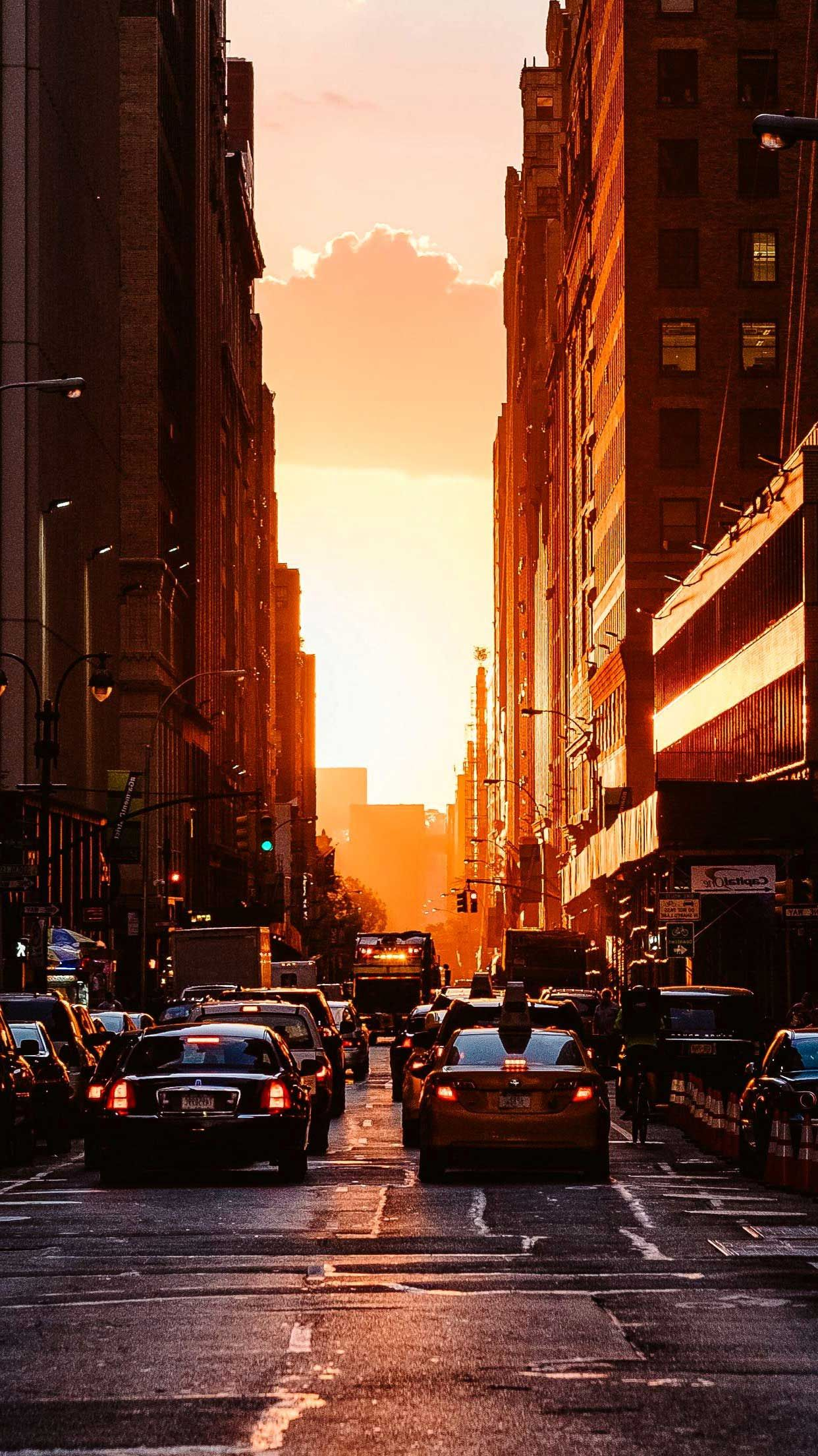 City Sunset New York Iphone Wallpapers Hd Sunset City New York Iphone Wallpaper New York Wallpaper