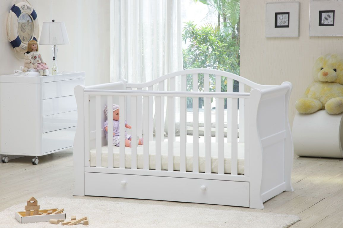 Bella Baby Oslo White Sleigh Cot Bed