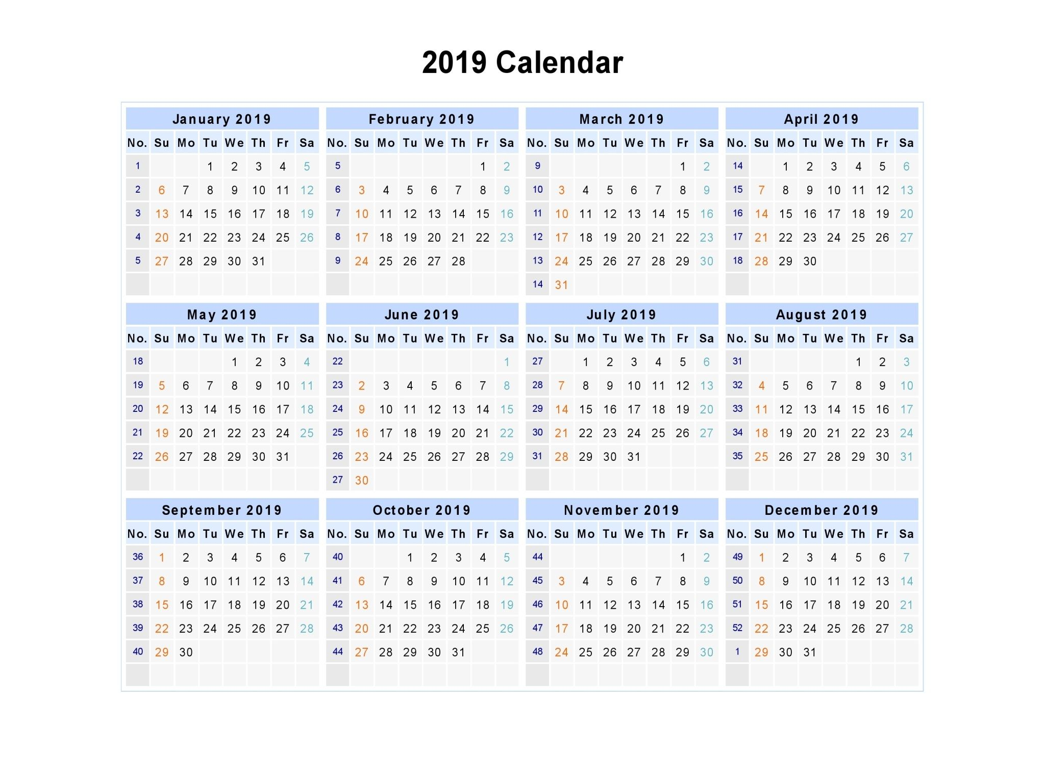 free printable calendar 2019 template pdf excel word