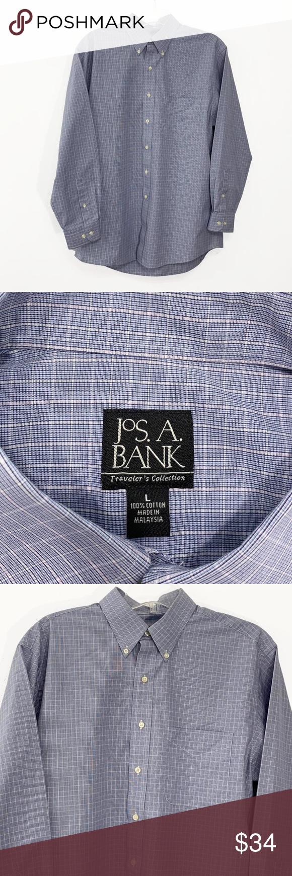 Jos. A. Bank Mens Large Shirt Long Sleeve Blue Long