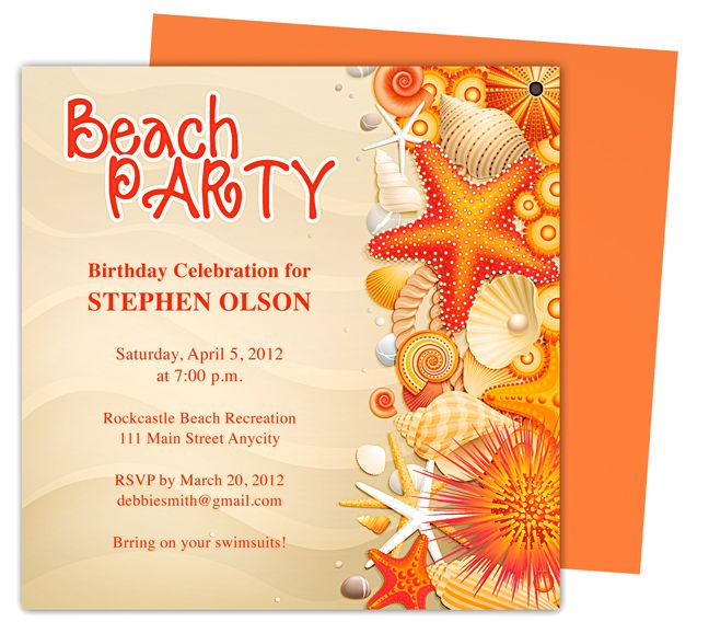 Shore Birthday Party Invitation Templates Use With Word