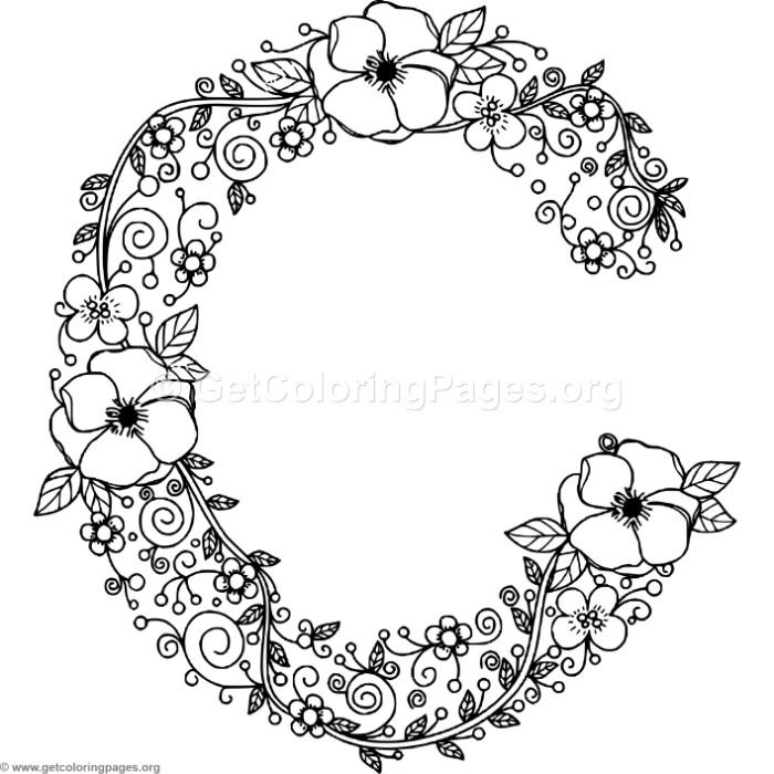 this free floral alphabet letter c coloring pages