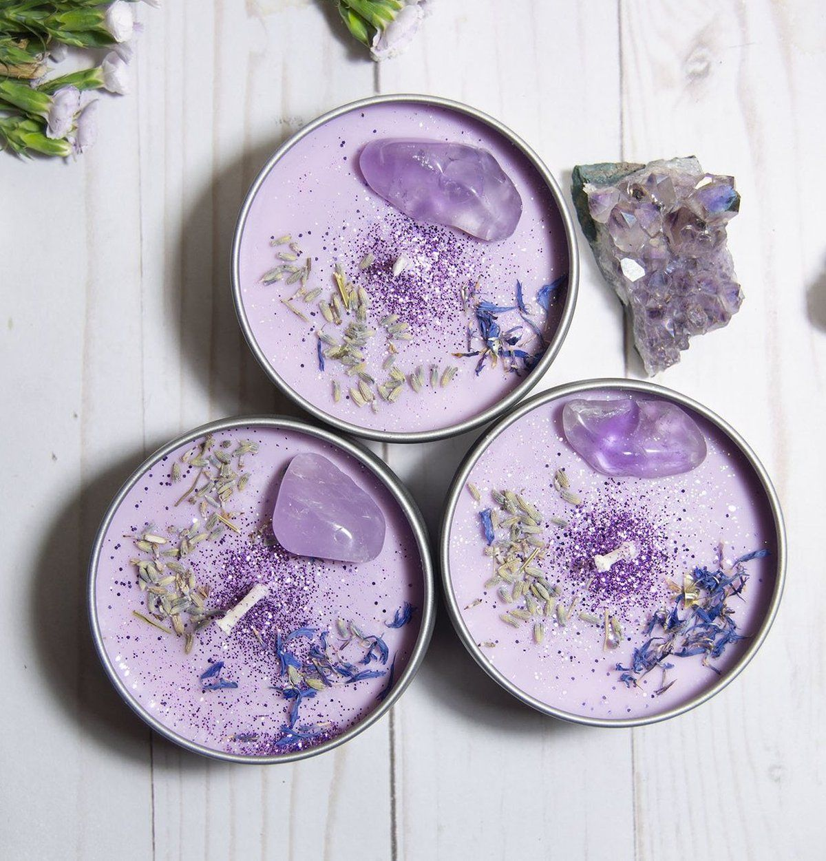 ASTRAL CANDLES - Serenity - Lavender Crystal Candle