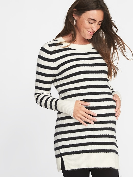 b39323472ff18 Old Navy Women's Maternity Plush Rib-Knit Tunic Sweater Navy Stripe Size XS