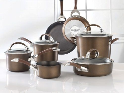 Circulon Symmetry Nonstick Hard Anodized 11 Piece Cookware Set In Chocolate Hard Anodized Cookware Cookware Set Induction Cookware