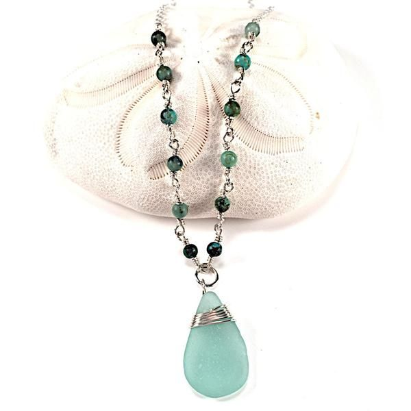Sea Foam Blue Wire Wrapped Necklace With Bead Accents