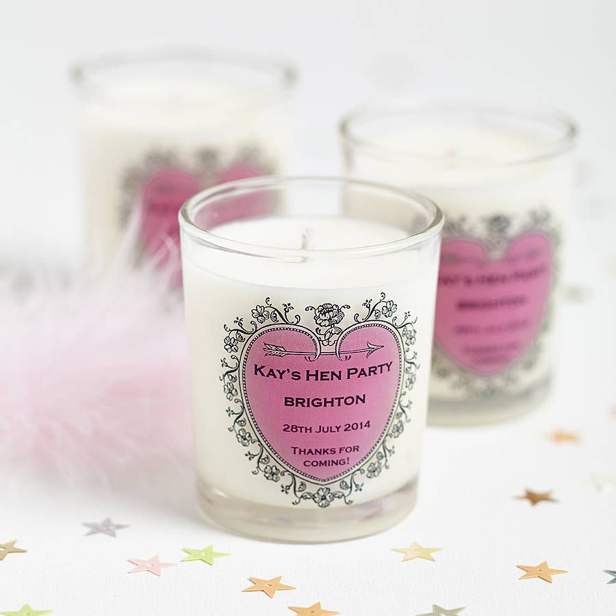 Hen Party Favour Personalised Candle | Hen party favours, Hens and ...