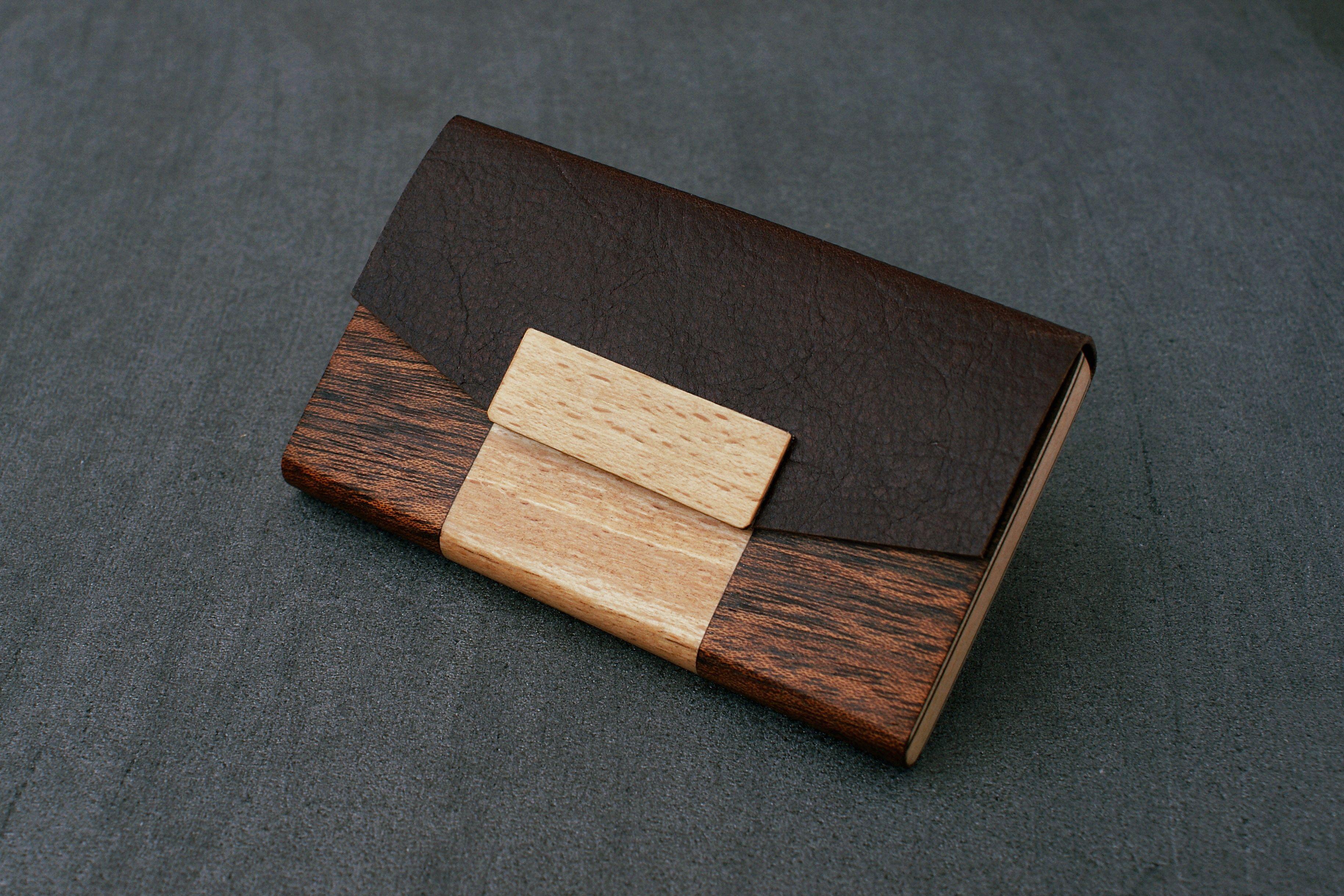 BLAZER LUXURY Business Card Holder Credit Case Wood Wallet