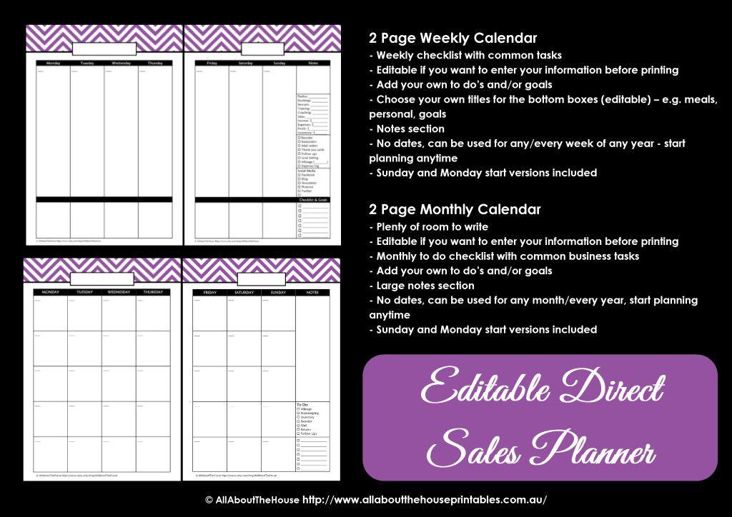 Printable Direct Sales Planner EDITABLE Weekly planner