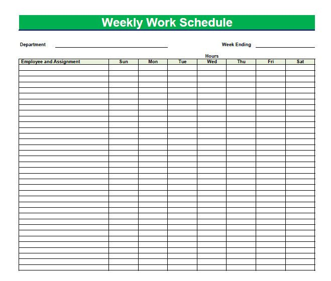 Blank Time Sheets for Employees Printable blank PDF weekly - daily schedule template