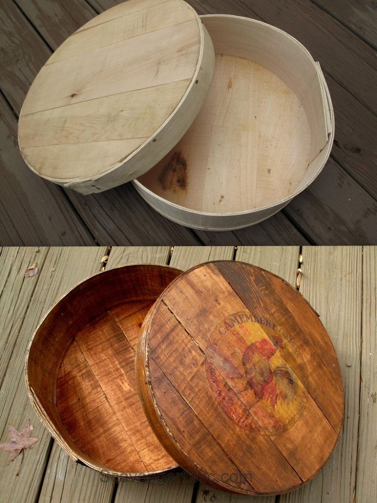 How To Make A New Cheese Box Look Old Craft Ideas Box Cheese