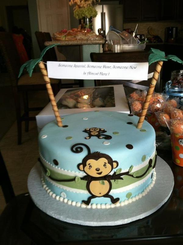 Lovely Image Of: Monkey Baby Shower Cakes