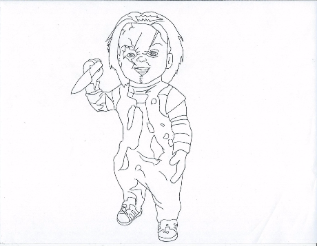 chucky printable coloring pages horror movie villians