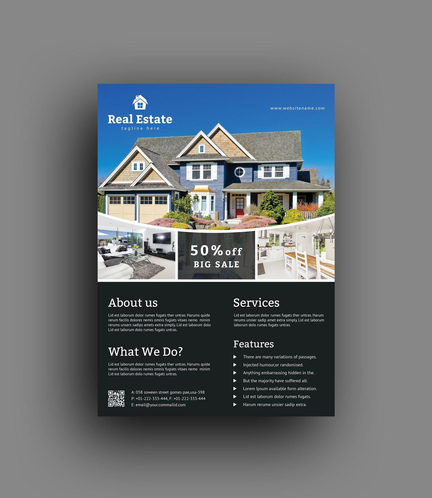 Elegant Real Estate Flyer Template Real Estate Flyer Template Real Estate Flyers Flyer Template Template for real estate flyer