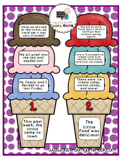 Main Idea And Detail Ice Cream Cones Freebie Center 3rd Grade