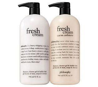 Philosophy Super Size Fresh Cream Warm Cashmere Shower Gel Duo Qvc Com Shower Gel Body Lotion Lotion