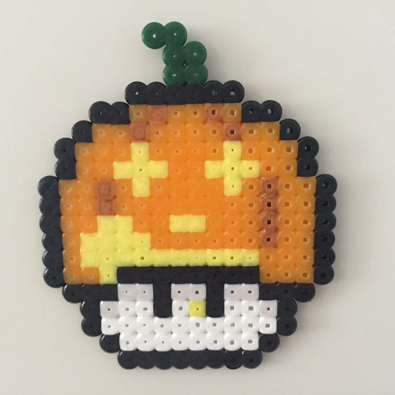 Perler bead mushroom Pumpkin growling - by Bjrnbr