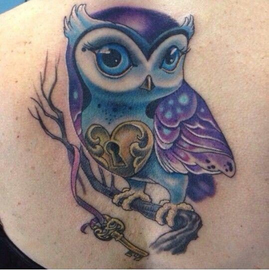 61 Impressive Lock And Key Tattoos Purple Tattoos Cute Owl Tattoo Owl Tattoo Design