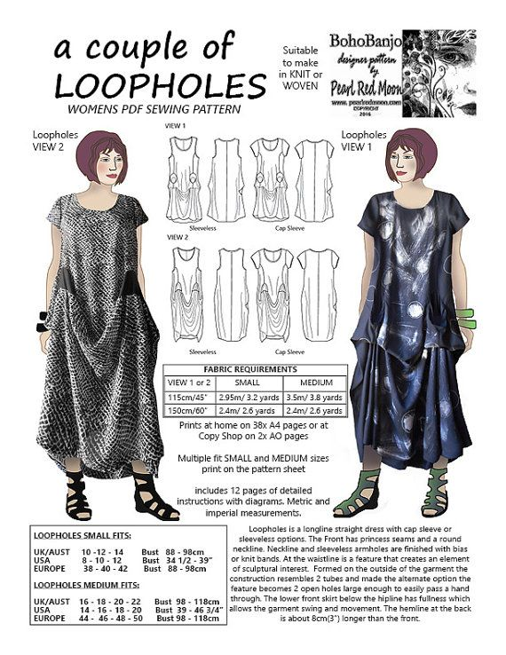 A couple of Loopholes, womens PDF sewing pattern | Pdf, Pdf sewing ...