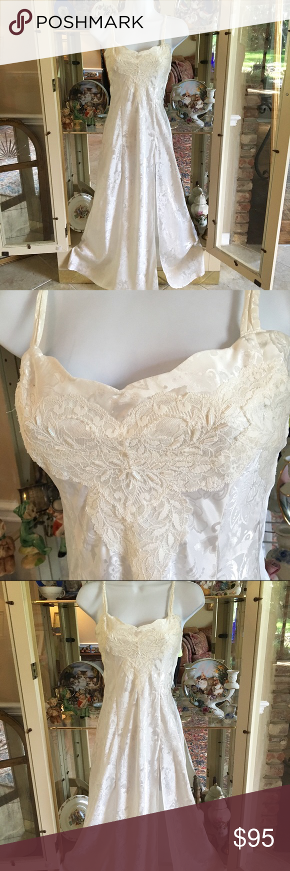 Vintage victoria\'s secret white sheer floral gown | Lingerie gown ...