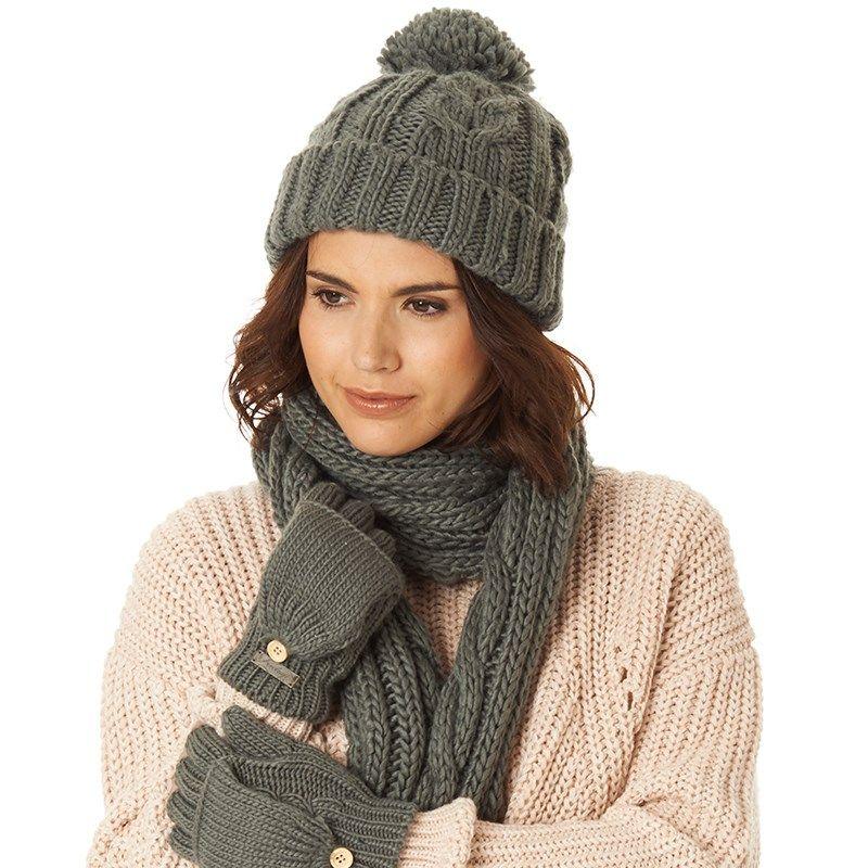 10b5d948da9 Firetrap Womens Cable Knit Bobble Hat Charcoal