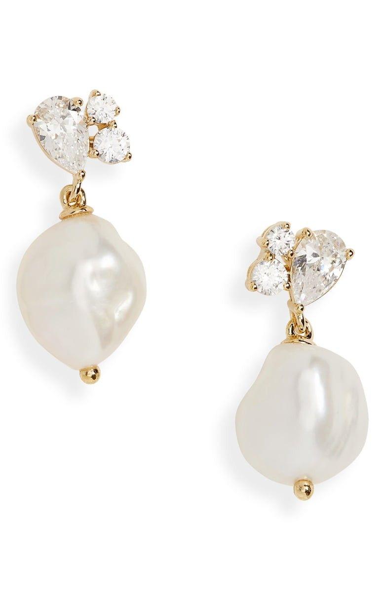 Long Bridal Earrings White Pearl Chain Earrings Dainty Wedding Earrings.