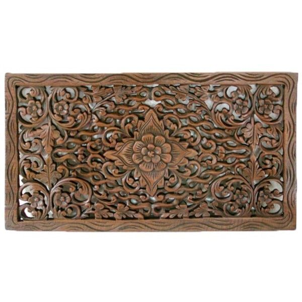 Handmade Reclaimed Teak Wood Lotus Carving (Thailand) three of these together for a headboard