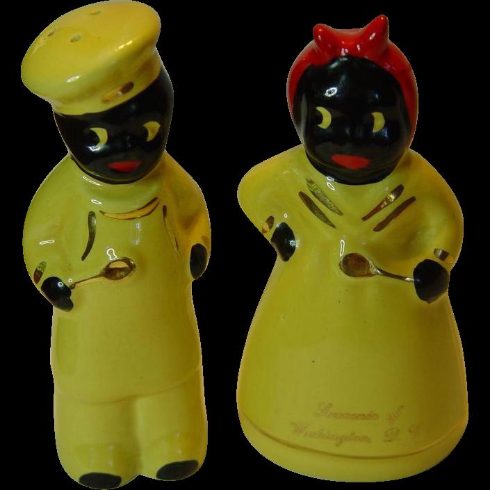 Vintage Black Americana Mammy & Pappy Salt and Pepper Shakers Souvenir  Washington DC
