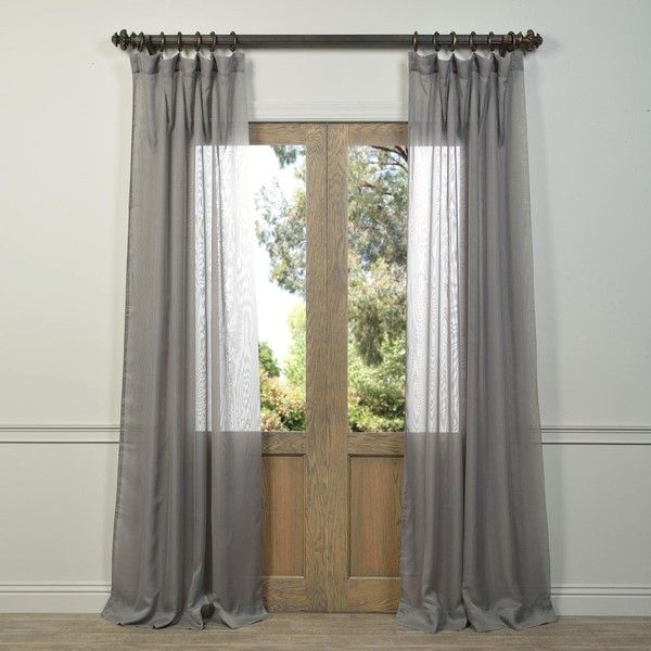 Eff Signature Grey Sheer Curtain Panel 39 Liked On Polyvore