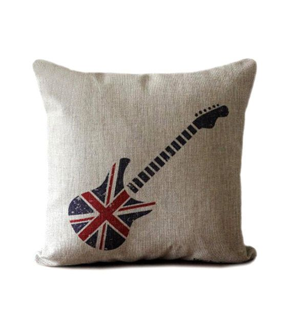 5631447049b SUMMER SALE - Linen pillow case with union jack guitar design decorative  throw pillow with guitar print
