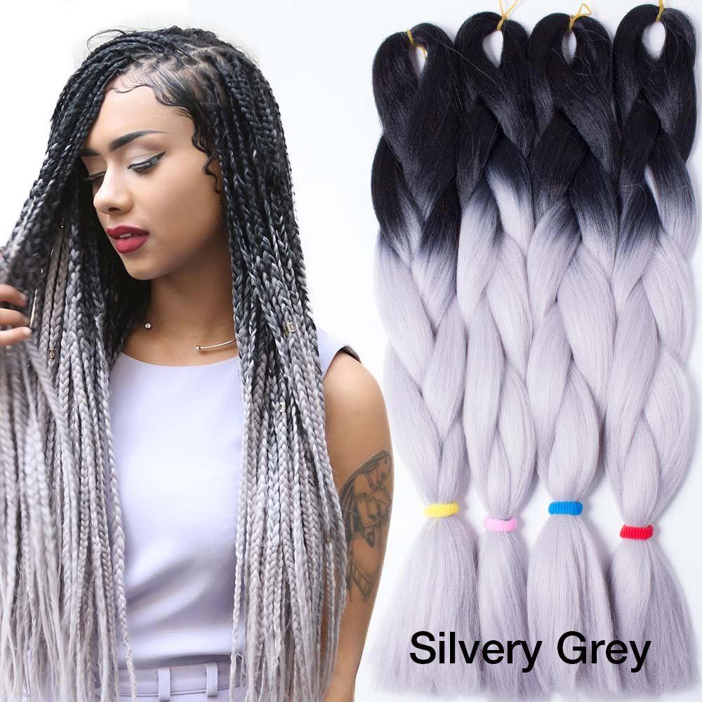 "24"" 100g ombre braiding hair for box braids hair synthetic braiding hair extensions black silver gray dark green brown burgundy"