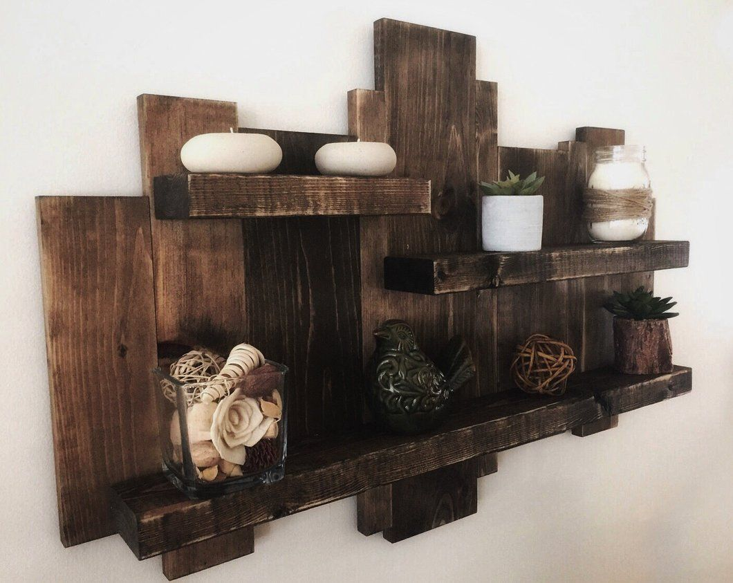 Rustic wooden pallet shelf