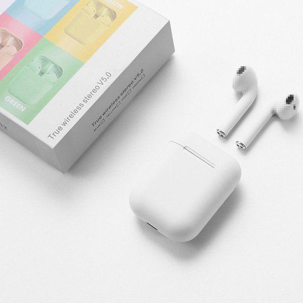 Macaroon White I12 Tws Inpods Bluetooth Earphones Touch Control Built In Mic Auto Pairing Hands Free Headset Headphone Ea Bluetooth Earphones Earbuds Earphone