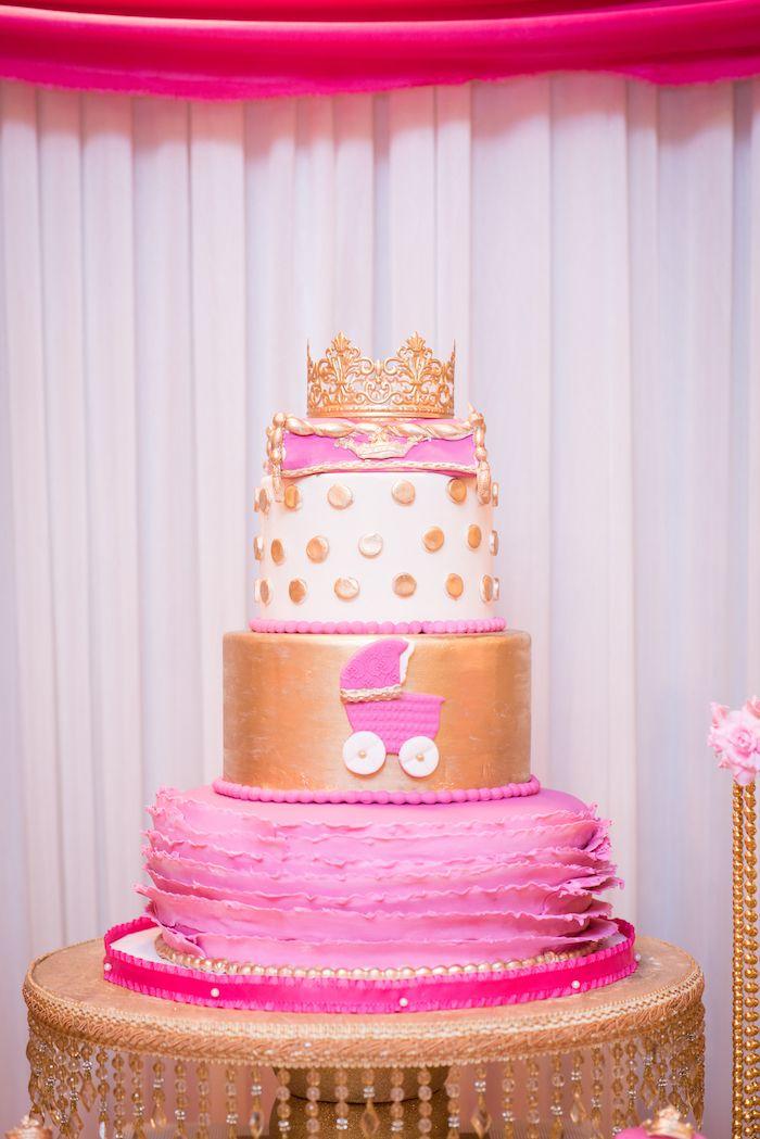 Pink Princess Cake From A Royal Princess Baby Shower On Karau0027s Party Ideas  | KarasPartyIdeas.