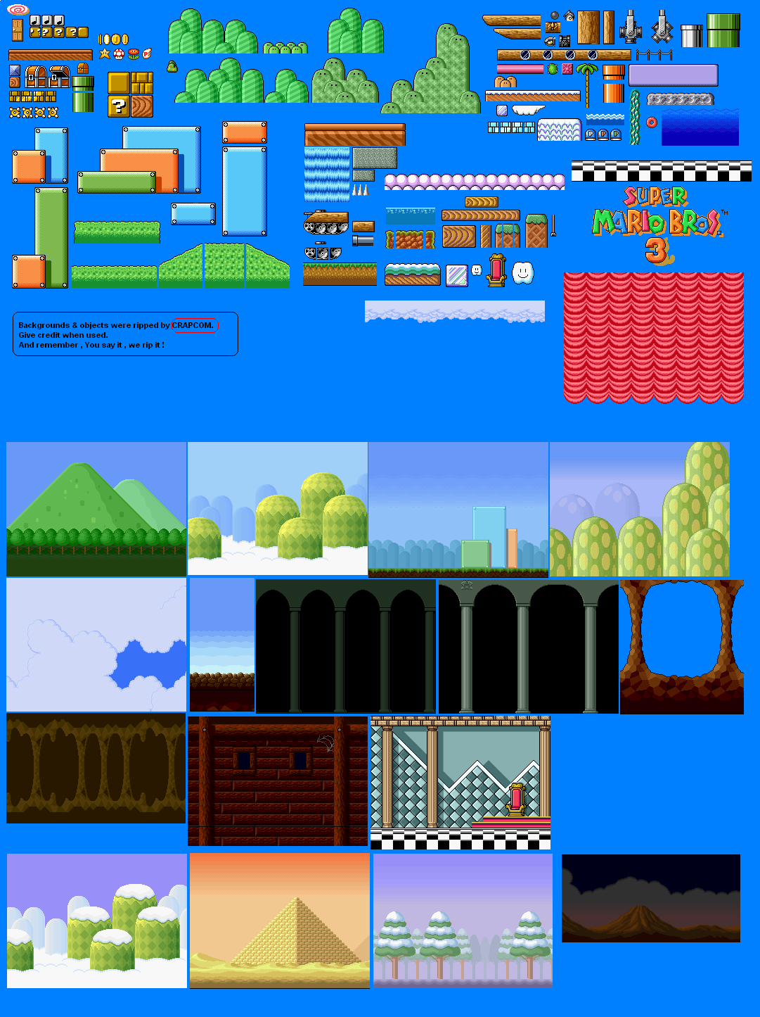 Super Mario All Stars Bros 3 Backgrounds And Objects