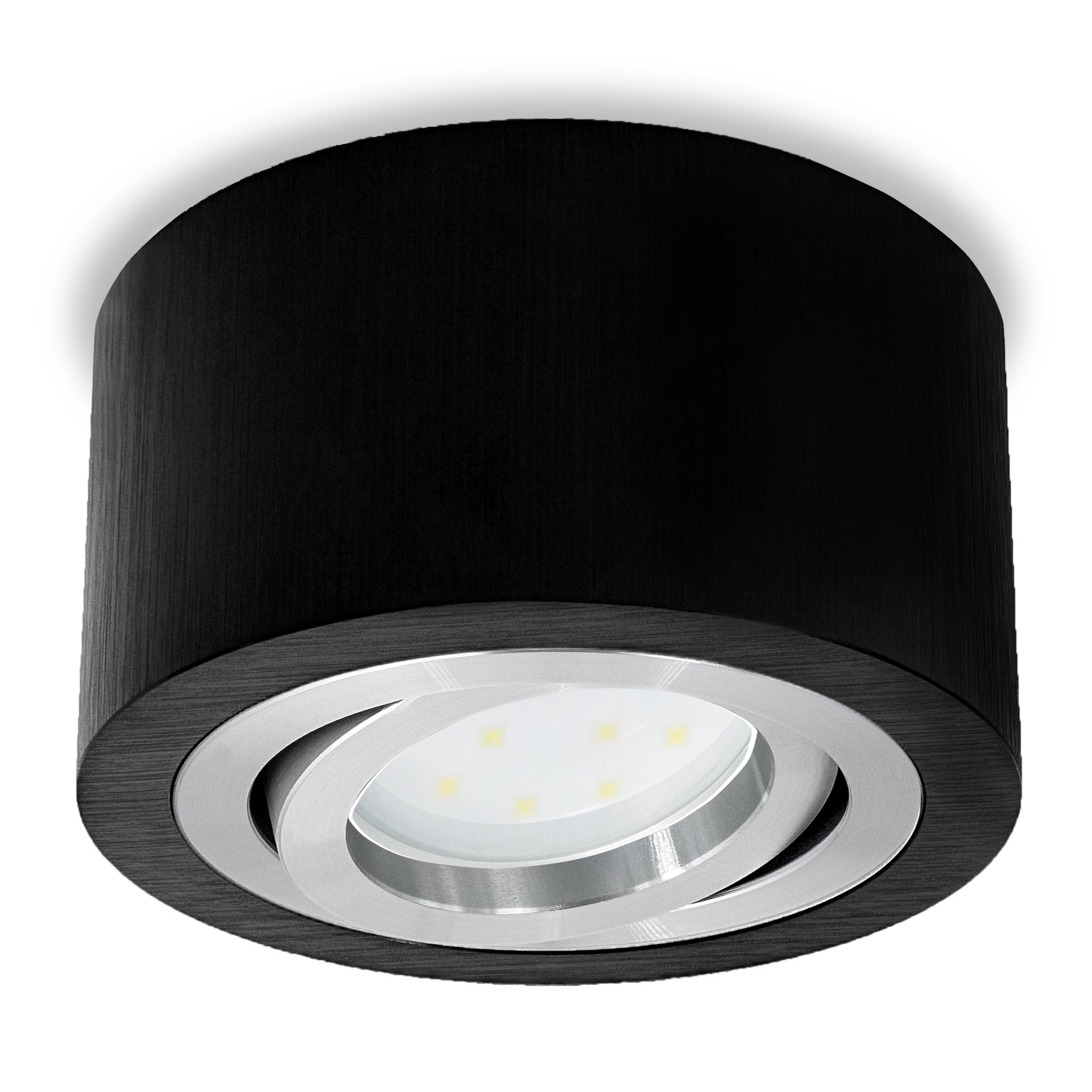 Flacher Decken Aufbau Spot Alu Schwarz Schwenkbar Inkl Led Modul 5w Warm Weiss 230v In 2020 Led Lighting Interior
