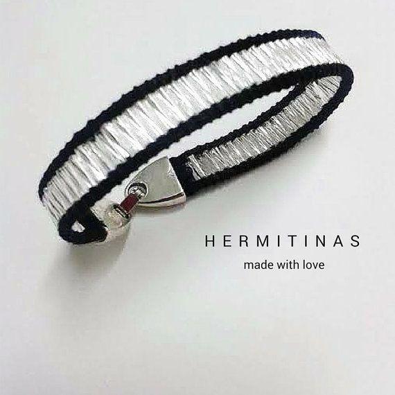 Silver Bugle Beads Bracelet Black Satin Cord by Hermitinas on Etsy