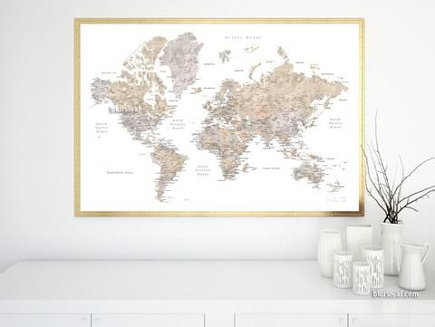 Printable world map poster in watercolor style featuring cities printable world map poster in watercolor style featuring cities capitals states quote large 36x24 gumiabroncs Image collections