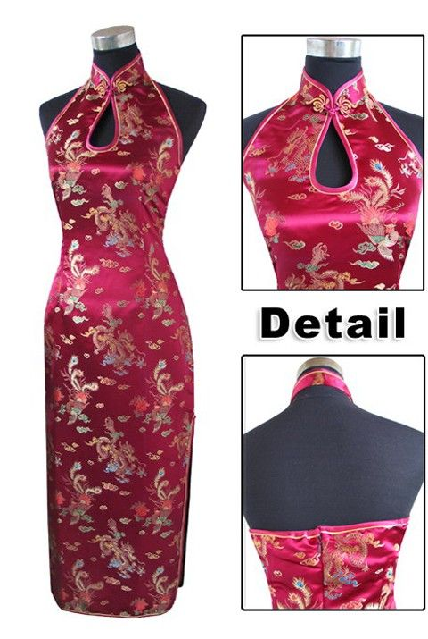 e35879b0031f Periwing Burgundy Satin Mandarin Collar Dragon & Phenix Evening Dress  Chinese Dress Qipao