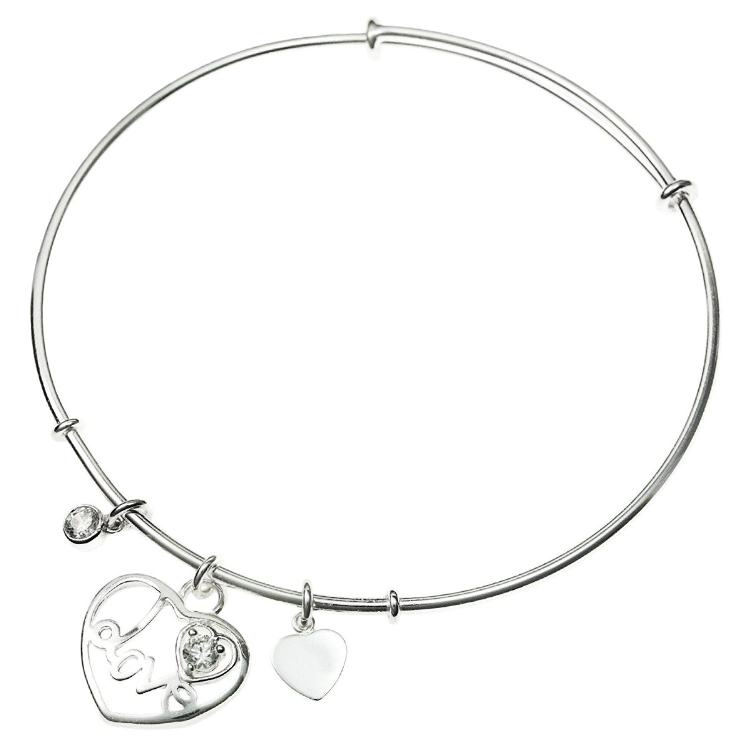 Sterling Silver Cubic Zirconia Love Heart Dangle Charm Bangle Bracelet, Adjustable 7